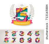 anniversary logo celebration... | Shutterstock .eps vector #713165884