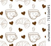 a cup  a croissant. background  ... | Shutterstock .eps vector #713166091
