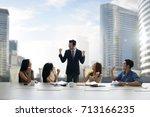 businessman giving inspiration...   Shutterstock . vector #713166235