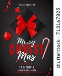 merry christmas dark party... | Shutterstock .eps vector #713167825