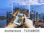 hand touching smart phone use... | Shutterstock . vector #713168035