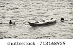 anchored yellow kayak in... | Shutterstock . vector #713168929