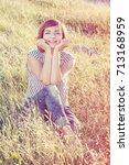 beautiful young caucasian woman ... | Shutterstock . vector #713168959