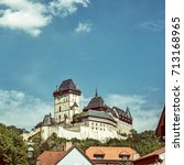 gothic castle karlstejn in... | Shutterstock . vector #713168965
