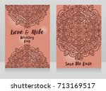 beautiful wedding cards with... | Shutterstock .eps vector #713169517