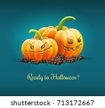 angry pumpkins with angry... | Shutterstock .eps vector #713172667