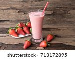 smoothies strawberry yogurt on... | Shutterstock . vector #713172895
