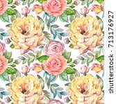 watercolor roses pattern | Shutterstock . vector #713176927