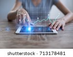 diagrams and graphs on virtual... | Shutterstock . vector #713178481