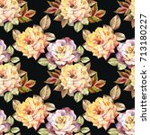 pattern with watercolor roses | Shutterstock . vector #713180227