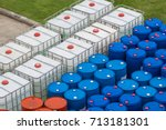 oil barrels blue and white or... | Shutterstock . vector #713181301