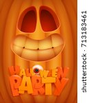 halloween party poster template ... | Shutterstock .eps vector #713183461