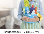 woman with cleaning equipment... | Shutterstock . vector #713183791