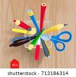 top view vector illustration of ... | Shutterstock .eps vector #713186314