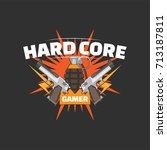 hard core gamer logo with two... | Shutterstock .eps vector #713187811