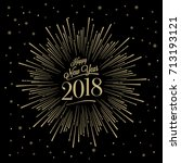 happy new year card with... | Shutterstock .eps vector #713193121