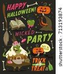 happy halloween card background.... | Shutterstock .eps vector #713193874