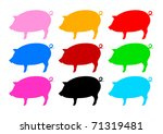 collection of pigs | Shutterstock .eps vector #71319481