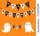 happy halloween. flying ghost... | Shutterstock .eps vector #713195209
