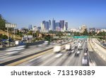 los angeles city freeway... | Shutterstock . vector #713198389