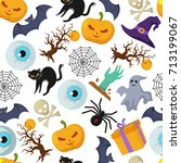 halloween vector seamless... | Shutterstock .eps vector #713199067