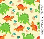 cartoon baby dinosaur vector... | Shutterstock .eps vector #713199109
