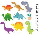cute baby dino vector... | Shutterstock .eps vector #713199529