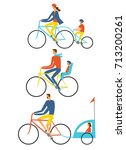 parents and children riding a...   Shutterstock .eps vector #713200261