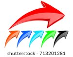 colored up arrows. vector 3d... | Shutterstock .eps vector #713201281
