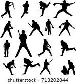 baseball player silhouette  ... | Shutterstock .eps vector #713202844