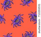 halloween seamless pattern with ...   Shutterstock .eps vector #713203531