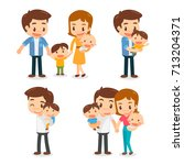 set of characters of the family.... | Shutterstock .eps vector #713204371