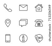 thin line contact us icons set... | Shutterstock .eps vector #713206549