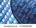 macro of silicon wafers. low dof | Shutterstock . vector #713206981