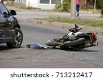 crash moto bike and car on road | Shutterstock . vector #713212417