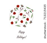 floral greeting card with hand... | Shutterstock .eps vector #713215435