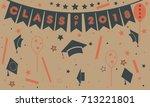 graduation class of two... | Shutterstock .eps vector #713221801
