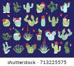 christmas or holiday themed... | Shutterstock .eps vector #713225575