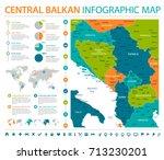 central balkan map   detailed... | Shutterstock .eps vector #713230201