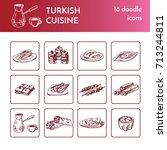 turkish cuisine. vector... | Shutterstock .eps vector #713244811