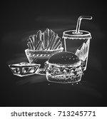 hand drawn chalk sketch on... | Shutterstock .eps vector #713245771