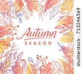autumn season.hand drawn... | Shutterstock .eps vector #713246569