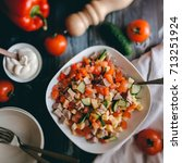 summer vegetable salad with...   Shutterstock . vector #713251924