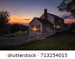 beautiful colonial style house... | Shutterstock . vector #713254015