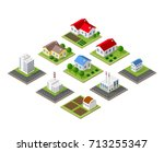 farm set of houses in isometric ... | Shutterstock .eps vector #713255347