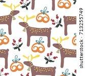 merry christmas seamless... | Shutterstock .eps vector #713255749