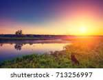 early morning  sunrise over... | Shutterstock . vector #713256997