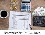 income statement  euro bills ... | Shutterstock . vector #713264095