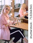 portrait of a beautiful blonde...   Shutterstock . vector #713266561