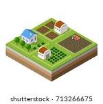 farm set of houses in isometric ... | Shutterstock .eps vector #713266675